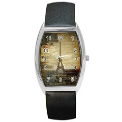 Elegant Vintage Paris Eiffel Tower Art Tonneau Leather Watch