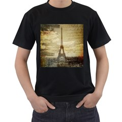 Elegant Vintage Paris Eiffel Tower Art Mens' Two Sided T-shirt (Black)