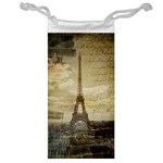 Elegant Vintage Paris Eiffel Tower Art Jewelry Bag Front