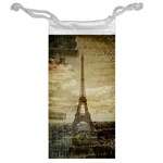 Elegant Vintage Paris Eiffel Tower Art Jewelry Bag Back