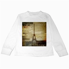 Elegant Vintage Paris Eiffel Tower Art Kids Long Sleeve T Shirt