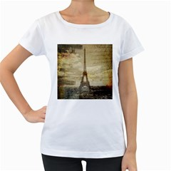 Elegant Vintage Paris Eiffel Tower Art Womens' Maternity T Shirt (white)