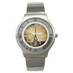 Elegant Vintage Paris Eiffel Tower Art Stainless Steel Watch (Unisex)