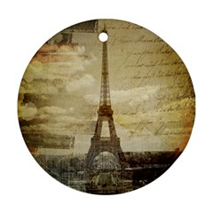 Elegant Vintage Paris Eiffel Tower Art Round Ornament (two Sides)