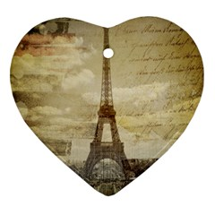 Elegant Vintage Paris Eiffel Tower Art Heart Ornament (Two Sides)