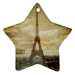 Elegant Vintage Paris Eiffel Tower Art Star Ornament (Two Sides)