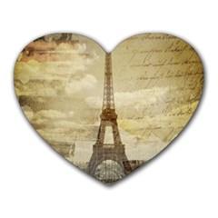 Elegant Vintage Paris Eiffel Tower Art Mouse Pad (Heart)
