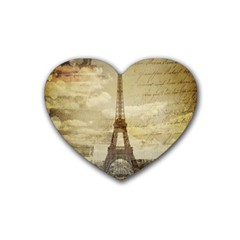 Elegant Vintage Paris Eiffel Tower Art Drink Coasters (heart)