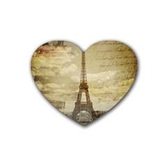 Elegant Vintage Paris Eiffel Tower Art Drink Coasters 4 Pack (Heart)