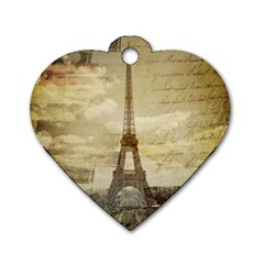 Elegant Vintage Paris Eiffel Tower Art Dog Tag Heart (two Sided)