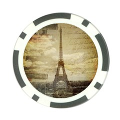 Elegant Vintage Paris Eiffel Tower Art Poker Chip