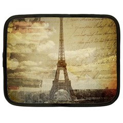 Elegant Vintage Paris Eiffel Tower Art Netbook Case (Large)