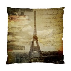 Elegant Vintage Paris Eiffel Tower Art Cushion Case (Two Sided)