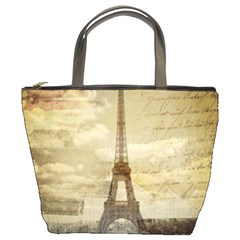 Elegant Vintage Paris Eiffel Tower Art Bucket Bag