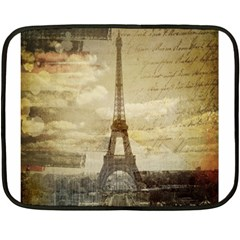 Elegant Vintage Paris Eiffel Tower Art Mini Fleece Blanket (two Sided)