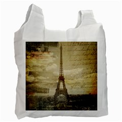 Elegant Vintage Paris Eiffel Tower Art Recycle Bag (two Sides)