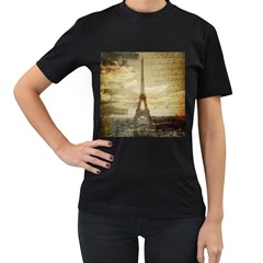 Elegant Vintage Paris Eiffel Tower Art Womens' T-shirt (Black)