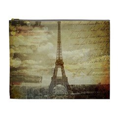 Elegant Vintage Paris Eiffel Tower Art Cosmetic Bag (xl)