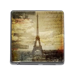 Elegant Vintage Paris Eiffel Tower Art Memory Card Reader With Storage (square)