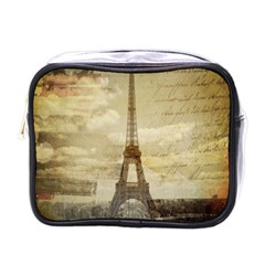 Elegant Vintage Paris Eiffel Tower Art Mini Travel Toiletry Bag (One Side)