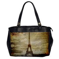 Elegant Vintage Paris Eiffel Tower Art Oversize Office Handbag (One Side)