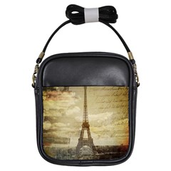 Elegant Vintage Paris Eiffel Tower Art Girl s Sling Bag