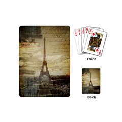 Elegant Vintage Paris Eiffel Tower Art Playing Cards (Mini)