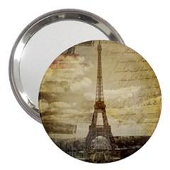 Elegant Vintage Paris Eiffel Tower Art 3  Handbag Mirror