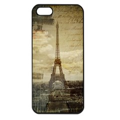 Elegant Vintage Paris Eiffel Tower Art Apple iPhone 5 Seamless Case (Black)