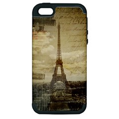 Elegant Vintage Paris Eiffel Tower Art Apple iPhone 5 Hardshell Case (PC+Silicone)
