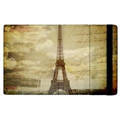 Elegant Vintage Paris Eiffel Tower Art Apple iPad 2 Flip Case
