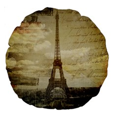 Elegant Vintage Paris Eiffel Tower Art 18  Premium Round Cushion
