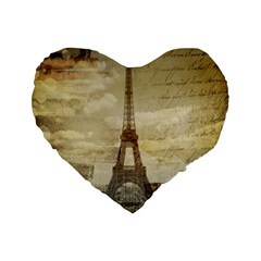 Elegant Vintage Paris Eiffel Tower Art 16  Premium Heart Shape Cushion