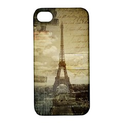 Elegant Vintage Paris Eiffel Tower Art Apple iPhone 4/4S Hardshell Case with Stand