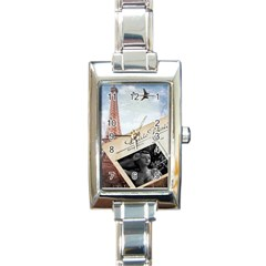 French Postcard Vintage Paris Eiffel Tower Rectangular Italian Charm Watch