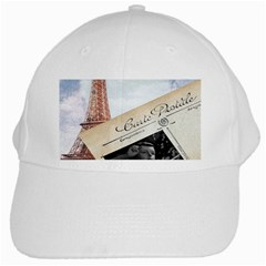 French Postcard Vintage Paris Eiffel Tower White Baseball Cap
