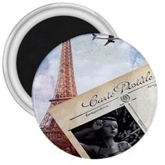 French Postcard Vintage Paris Eiffel Tower 3  Button Magnet
