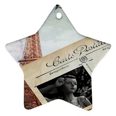French Postcard Vintage Paris Eiffel Tower Star Ornament