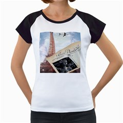 French Postcard Vintage Paris Eiffel Tower Women s Cap Sleeve T Shirt (white)