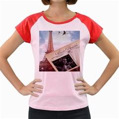 French Postcard Vintage Paris Eiffel Tower Women s Cap Sleeve T Shirt (colored)