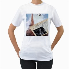 French Postcard Vintage Paris Eiffel Tower Womens  T Shirt (white)