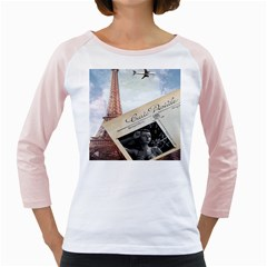 French Postcard Vintage Paris Eiffel Tower Womens  Long Sleeve Raglan T-shirt (White)