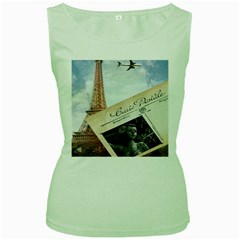 French Postcard Vintage Paris Eiffel Tower Womens  Tank Top (Green)