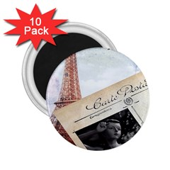 French Postcard Vintage Paris Eiffel Tower 2.25  Button Magnet (10 pack)