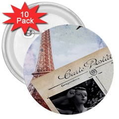 French Postcard Vintage Paris Eiffel Tower 3  Button (10 Pack)
