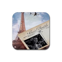 French Postcard Vintage Paris Eiffel Tower Drink Coasters 4 Pack (square)