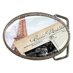 French Postcard Vintage Paris Eiffel Tower Belt Buckle (Oval)