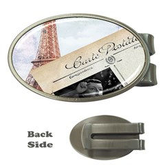 French Postcard Vintage Paris Eiffel Tower Money Clip (Oval)