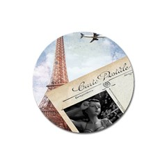 French Postcard Vintage Paris Eiffel Tower Magnet 3  (round)