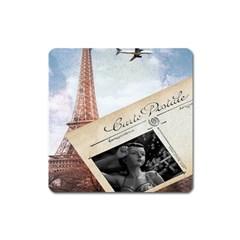 French Postcard Vintage Paris Eiffel Tower Magnet (Square)